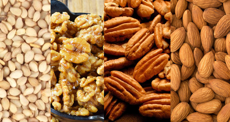 Almonds, walnuts and pecans