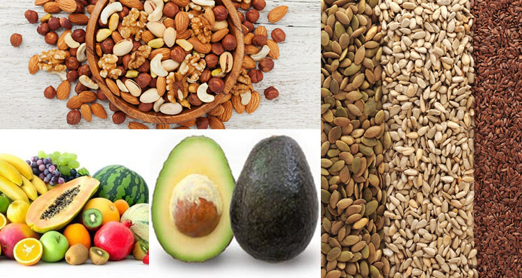 Nuts, seeds, fruits and avocado for weight loss